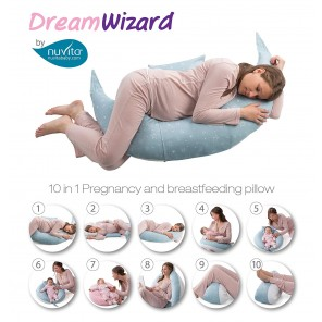 Cuscino gravidanza e allattamento DreamWizard Nuvita light blue